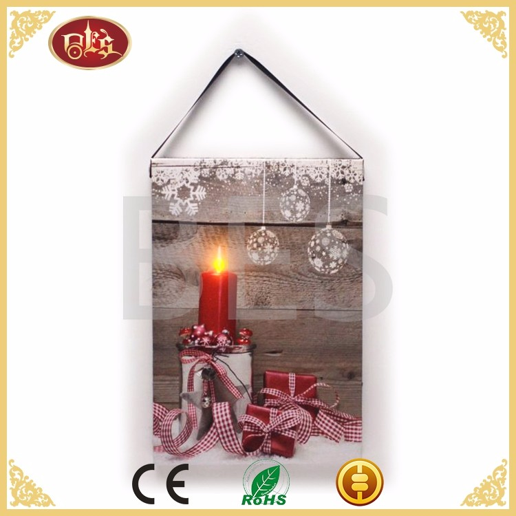 LED wall picture christmas candle light up led canvas