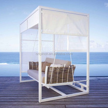 Aluminium frame romantic garden rattan canopy hanging chair outdoor swing sofa
