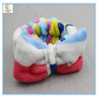 wholesale green bow knitted winter plush cat ear towel head wrap headband manufacturer