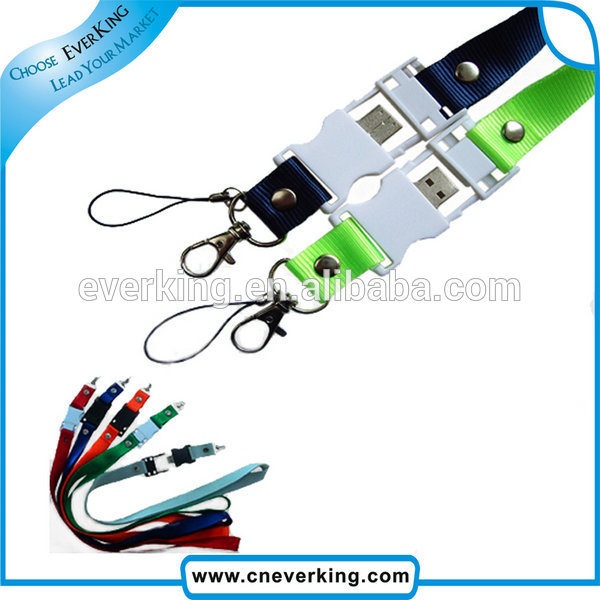 recycling durable elastic usb flash drive lanyard free sample for students
