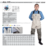 Sonic seam fishing waders