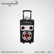 Guangdong mobile speaker case 8 inch disco flashing lights portable speaker with wireless mic