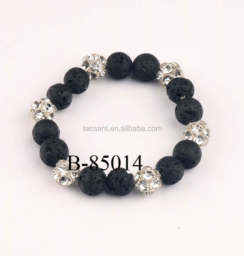 10 mm black lava stone and rhinestone beads bracelets, unique bracelet lava stone