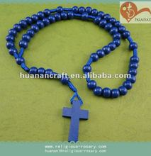 Blue Cord Rosary 6mm Wood Beads prayer rosary/Epoxy