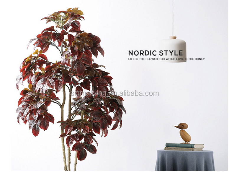 Hot sale Nordic style artificial red trees home or garden decorative artificial bonsai tree