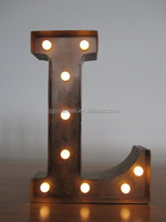 "Vintage Metal Industrial Led Marquee Light - Letter L - 14"" Tall"