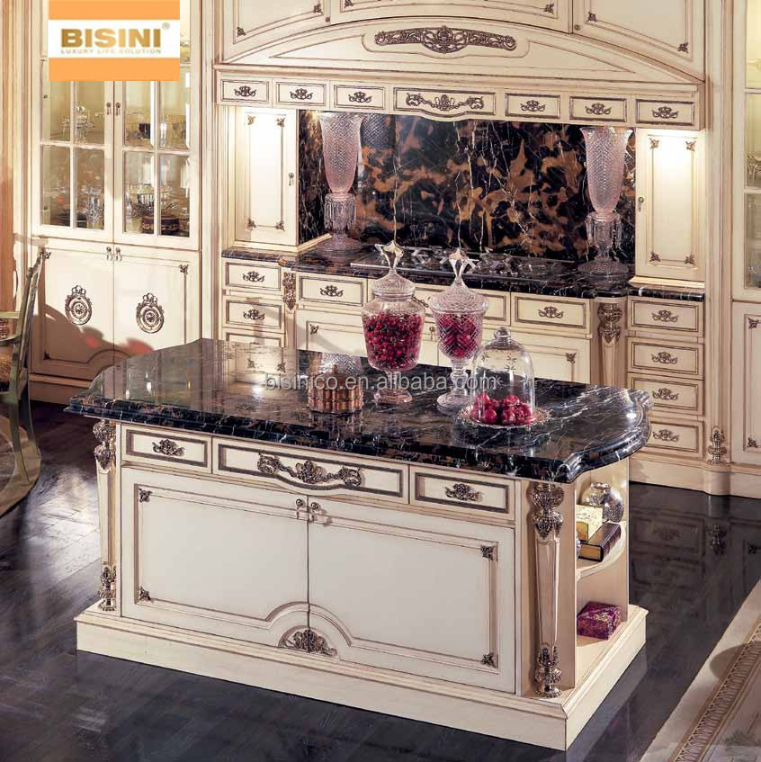 Vitoria style wooden kitchen cabinet with drawing hand for Kitchen set drawing
