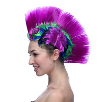 High quality Purple halloween football fan mohawk wig Hot sale style Synthetic Popular design style multi color wigs QPWG-8041