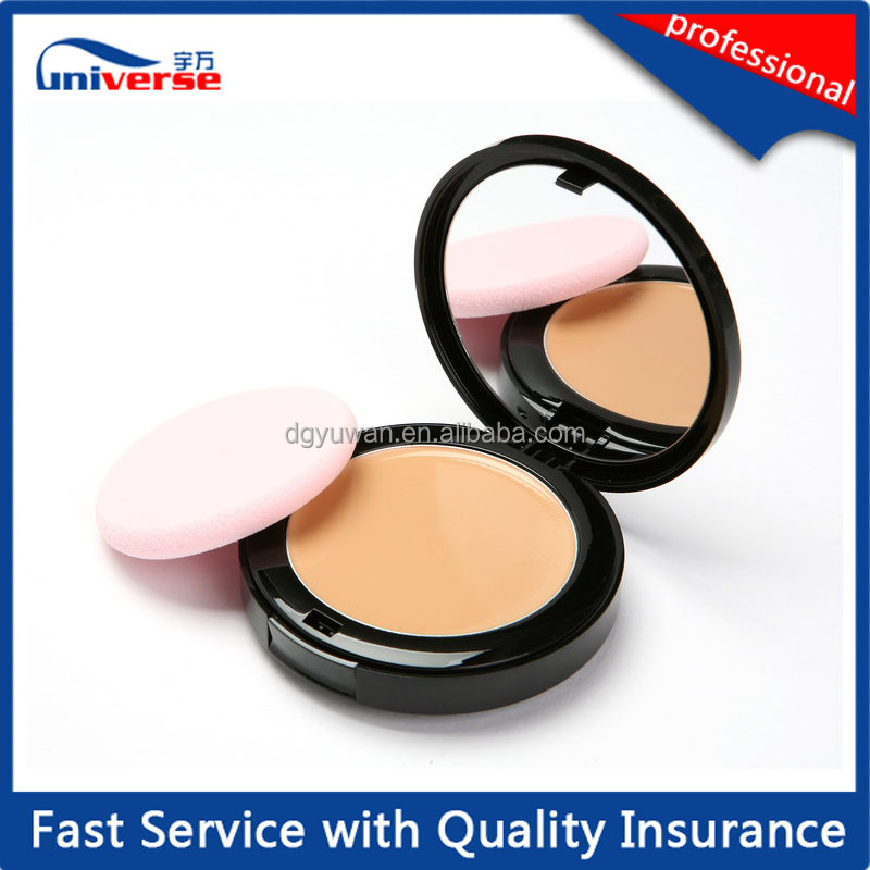 Black empty compact cosmetic loose powder case