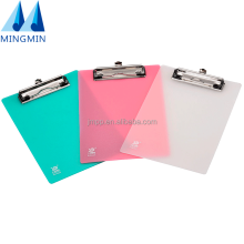 New hotsale customized printing plastic A3 A4 A5 standard size stationery clipboard with flat clamp