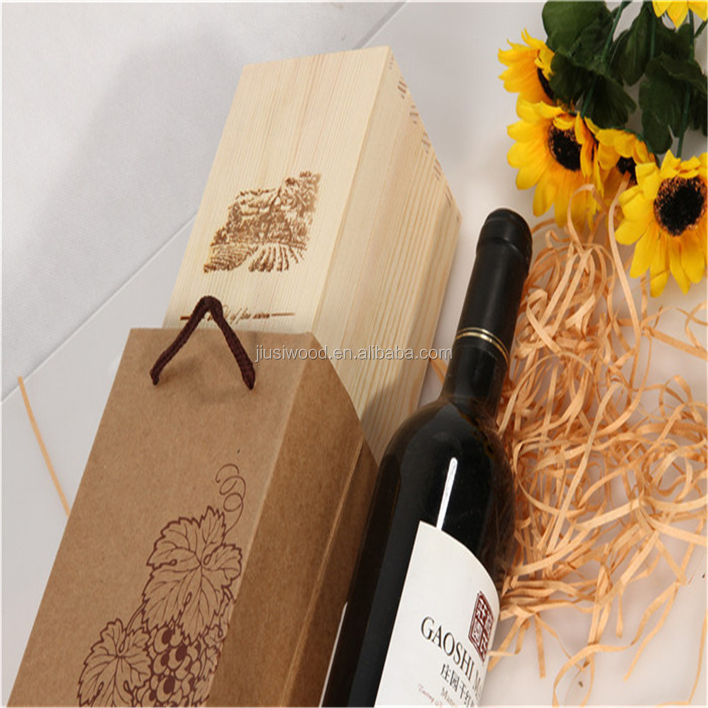 Wooden wine box gift box wholesale with lid/rope handles for wine glasses custom packing cheap pine wood boxes