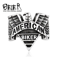Beier hot sale stainless steel American Biker Eagle Ring Punk Biker Motorcycle Jewelry US size BR8-206