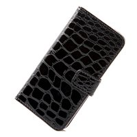 Black Croco PU Leather Dirt-resistant Protective Flip Case Cover Skin Card Wallet for iPhone 5 5G