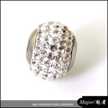 rhinestone bead charm of stainless steel jewelry for DIY