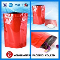 wholesale box pouch food bags with quad bottom and metallic liner