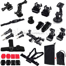 15-in-1 Suction Cup+Chest Strap+Head Strap+Helmet Strap+Mounts+Stickers+Pouch for Go Pros He ro 4/3+/3/2/1