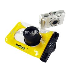 yellow pvc camera case waterproof with lens for swimming