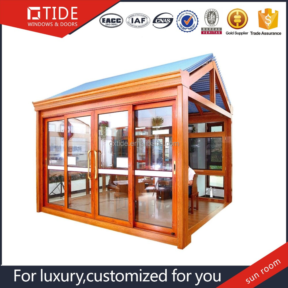 Prefabricated Wooden design Sun room With Low-E glass and Insulated Board