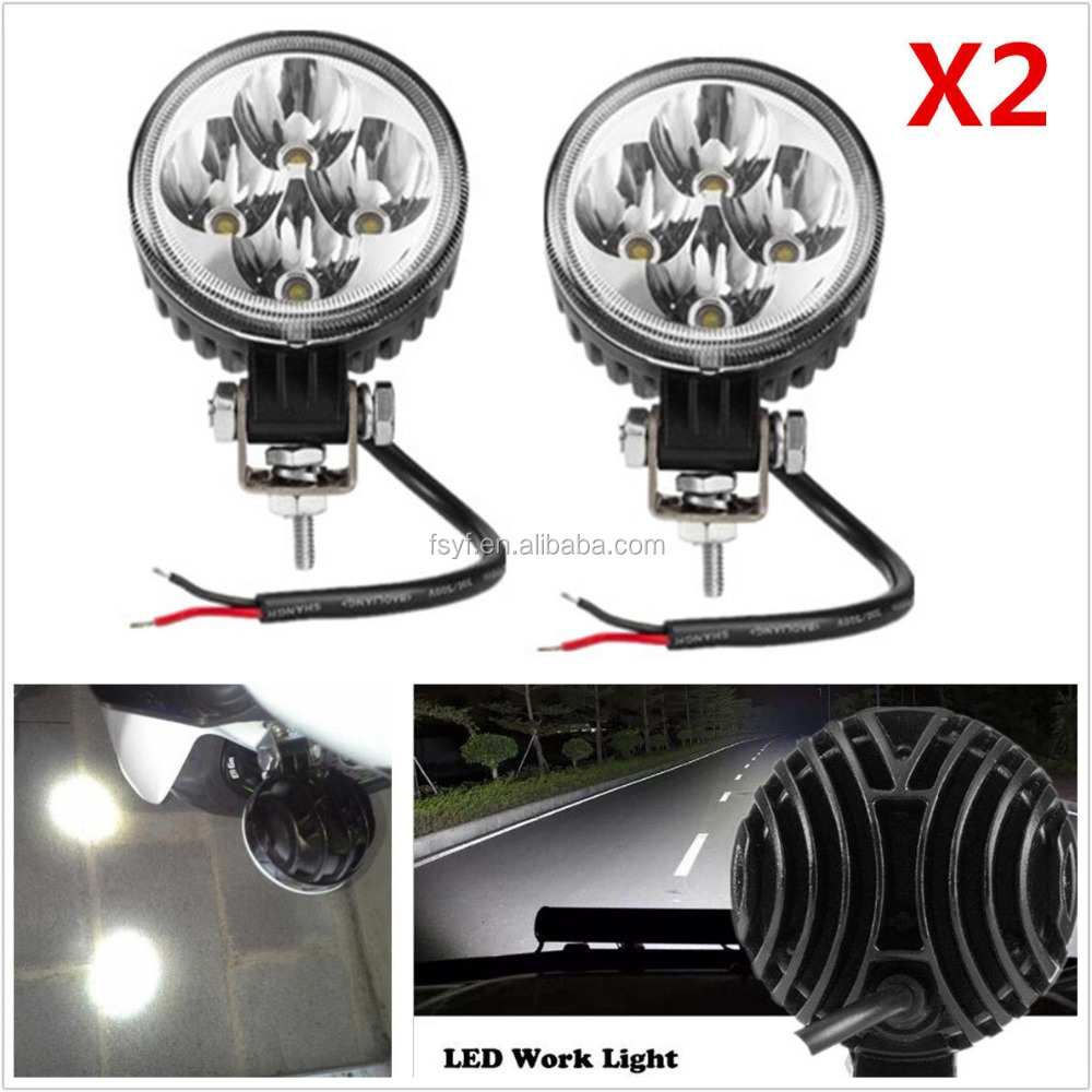 Round 12W 6000K Xenon White Car Off-Road LED Work Lights Spot Fog DRL Lamps