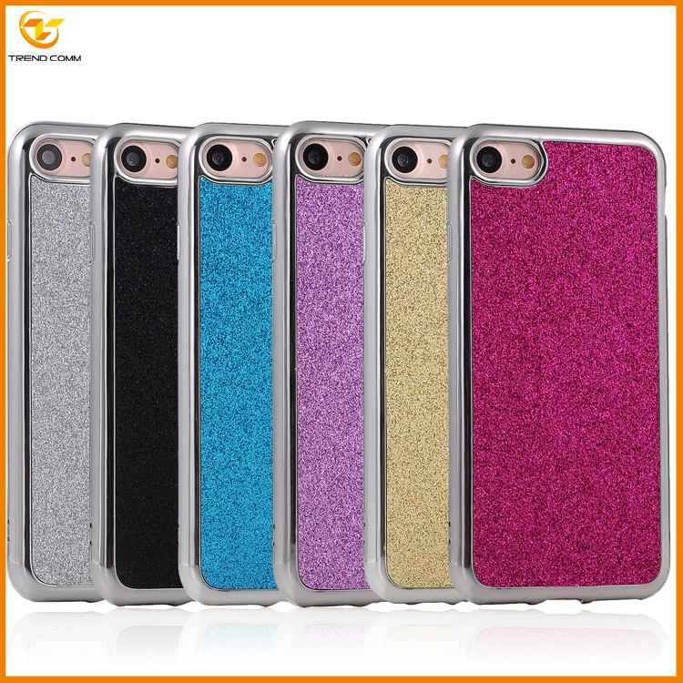 alibaba express plating thin glitter sticker tpu thin case for iphone 7