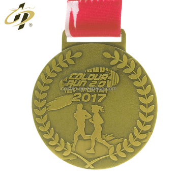 Hot design round 3 inches size custom bronze marathon medals