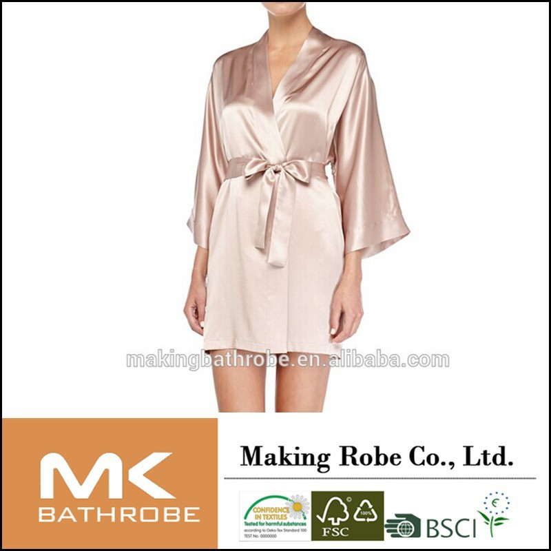 Silk Satin Short Robe, Brulee bathrobe