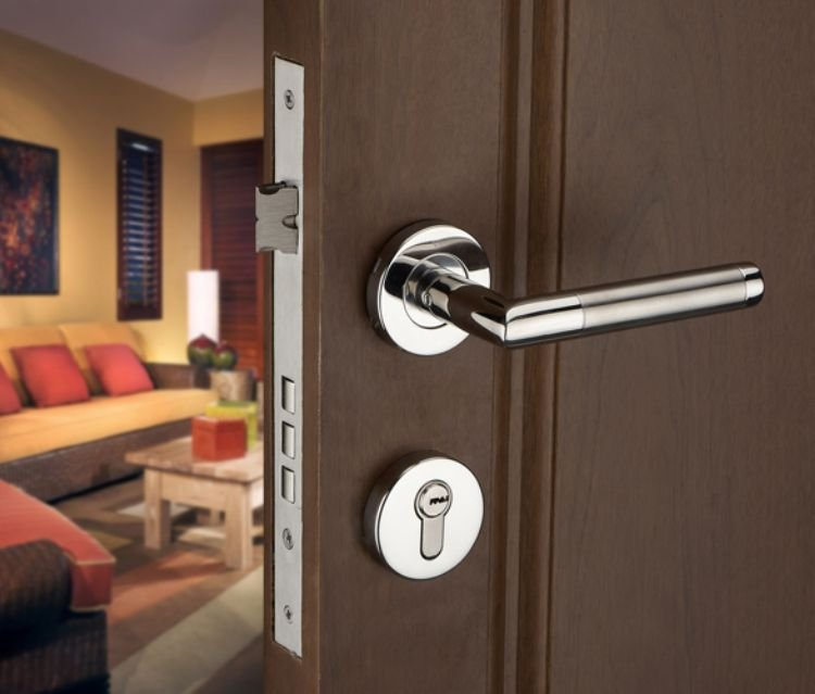 Stainless Steel Lever Handle Security Door Lock /Door Handle Keyed Locks For Wooden door