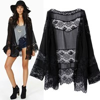 14223 New Fashion 2014 Spring Autumn European Style Long Sleeve Lace Patchwork Chiffon Long Women Cardigan Coat