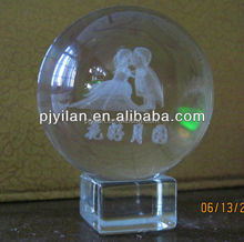 elegant k9 Crystal glass 3d laser big engraved crystal 3d etched ball 100mm 80mm crystal 3d ball for Decoration globle
