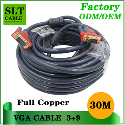 Double shielded high quality vga cable 30m full copper 15pin 3+9 vga cable for multimedia