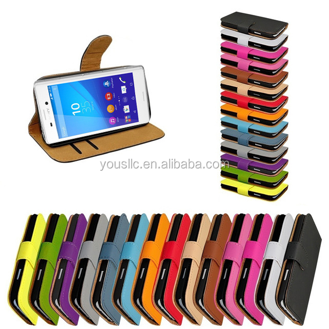 Flip wallet Leather Phone Case For Sony Xperia E5