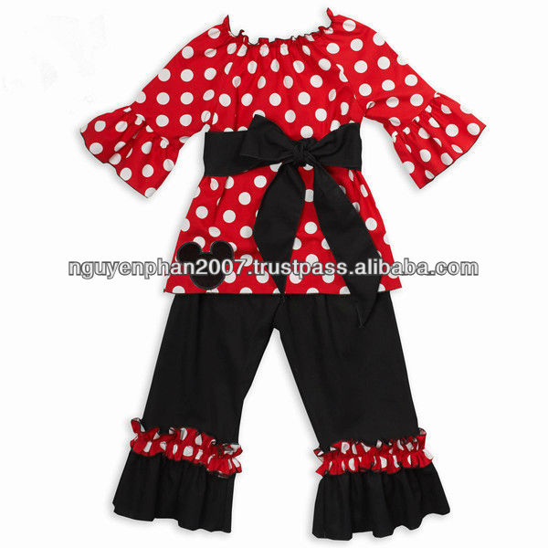 Red polka dot peasant dress and Ruffle Black pant set for girls