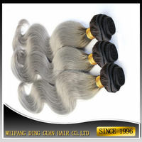 Factory top sell brazilian gray human hair extensions