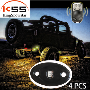4pc Waterproof super bright RGB LED Rock Light Kits multi-color Control for JEEP Off Road Truck Car ATV SUV Boat & Music Mode
