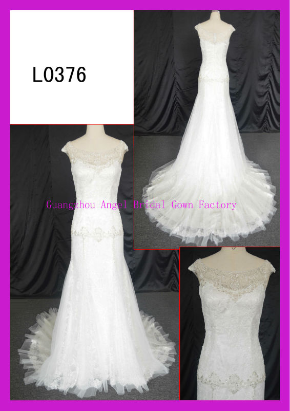2014 guangzhou illusion neckline elegant real model slim A-line wedding dresses with french lace and beading motif L0376