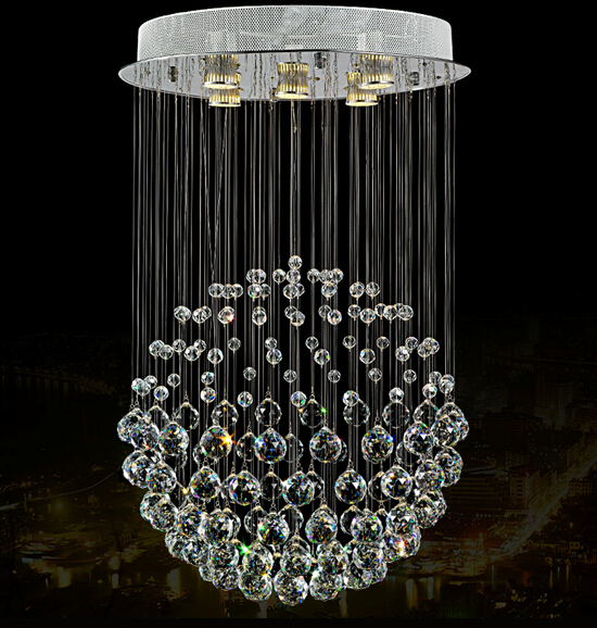 Round elegant tranparent crystal light luxury crystal chandelier for home decorative