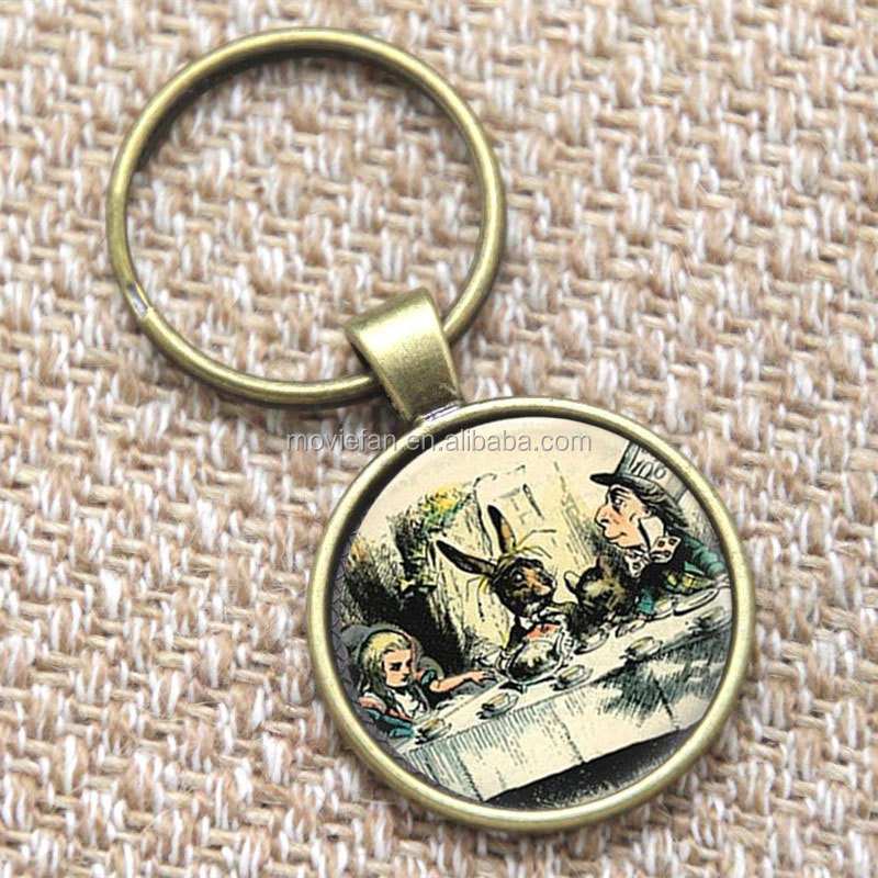 Alice In Wonderland keyring A Mad Tea Party Mad Hatter March Hare Fairy Tale Art keyring Hatter print glass keyring