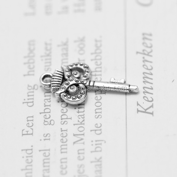 imitation jewelry parts silver findings 21mm key owl charms