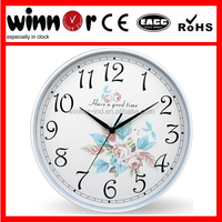 12 inches flower design plastic wall clock spring,clock hands,clock mechanism