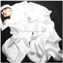 2018 factory plain white solid silk scarf