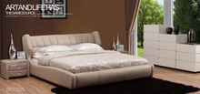 rooms to go bed , modern leather bed