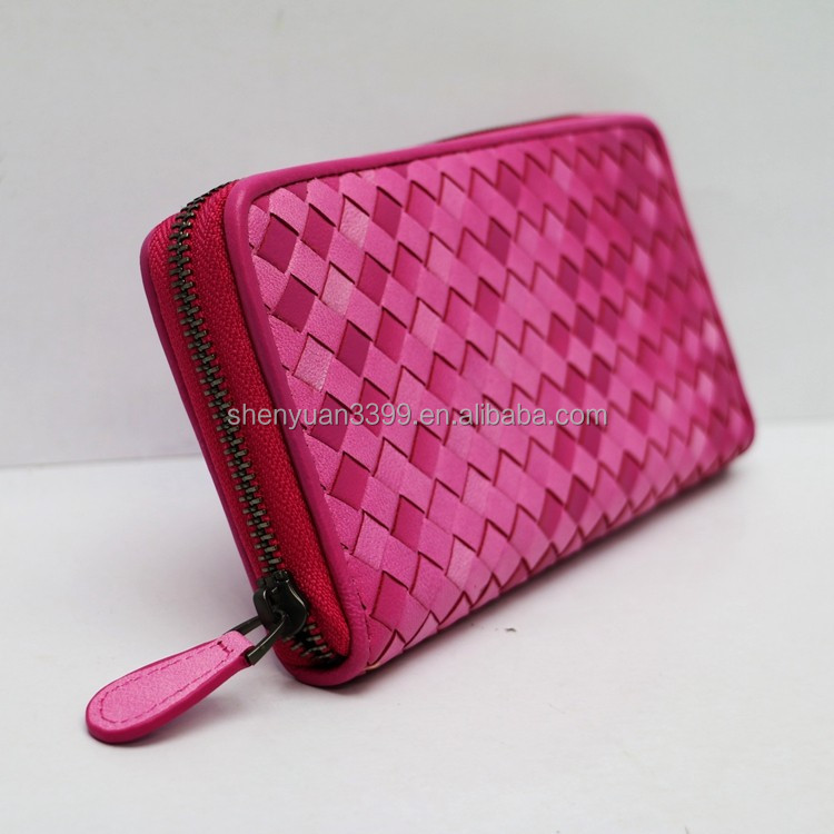 2016High quanlity ladies beautiful wallets clutch handbag PU leather daily/ evening twill weave bag
