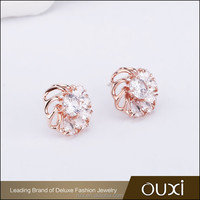OUXI Wholesale price High quality AAA zircon fancy pearl earrings designs for party girl 21493