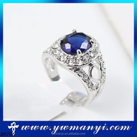 Factory directly sell princess engagement special sapphire silver ring wholesale R0765
