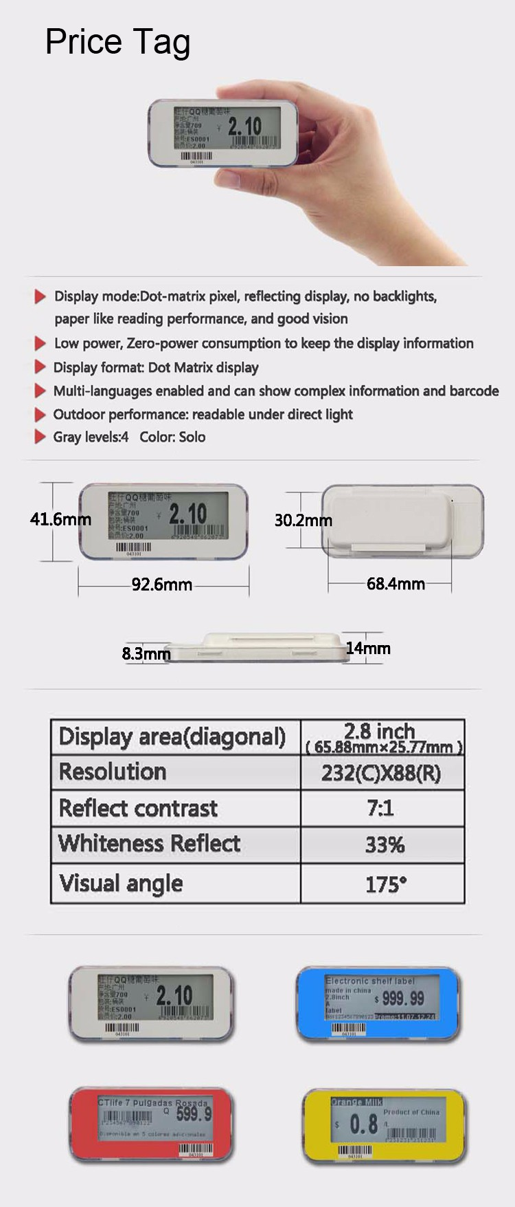 Epaper Display Shelf Price Label
