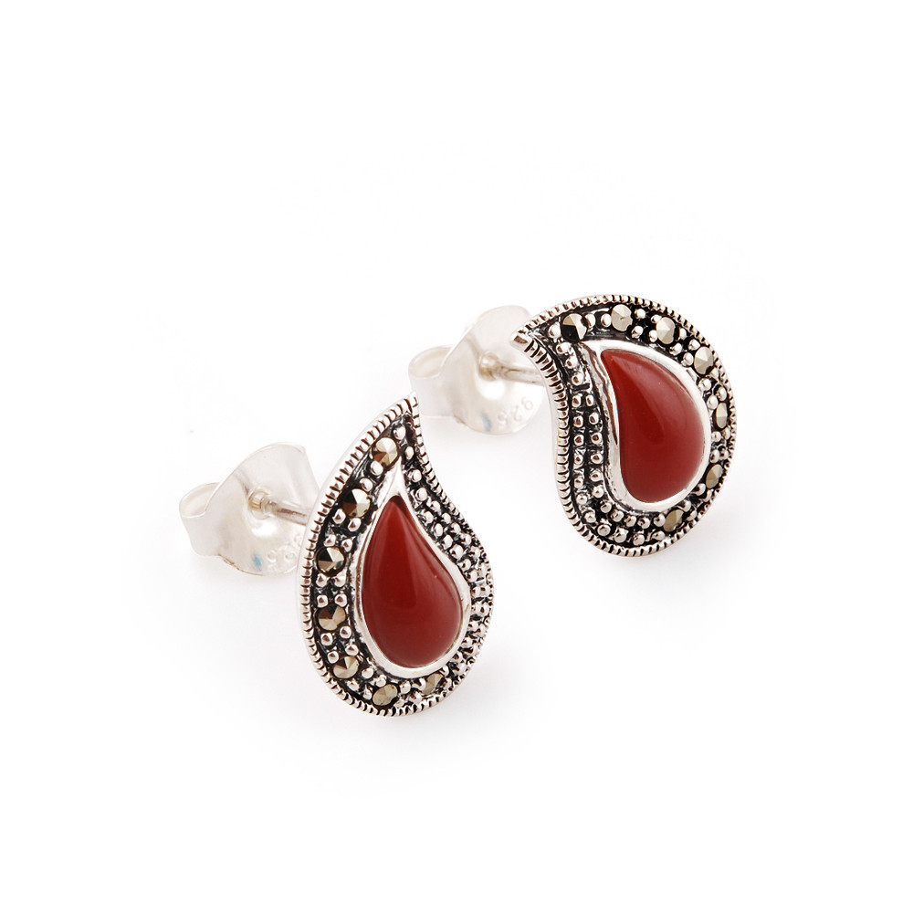 2.70 Grams Carnelian & Marcasite .925 Sterling Silver Earrings