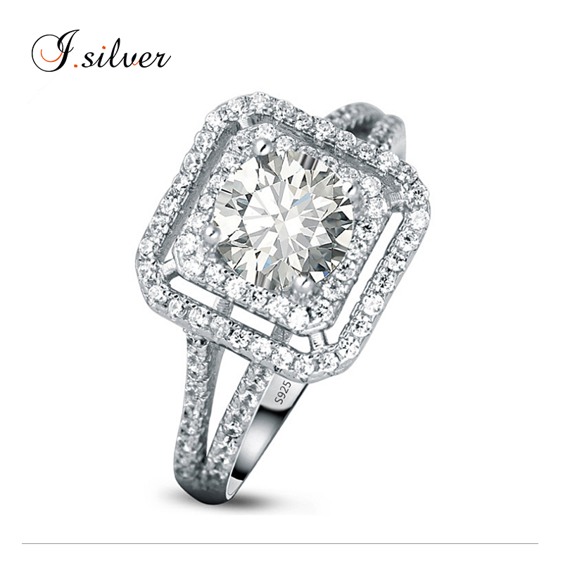 Wholesale new 925 sterling silver square cut cz stone wedding rings <strong>jewelry</strong> R30037