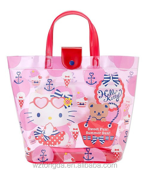 Pvc Bag/ Pvc Bag With Die Cutting Handle/ Natural Jute Bags With Wooden Handle