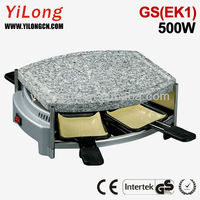 4 persons indoor grill with hot stone plate,500w,GS(EK1),4 raclette pans