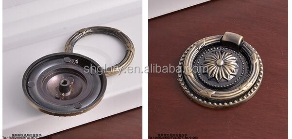 Antique garden knob for cabinet door, ring knob with plate drawer pull